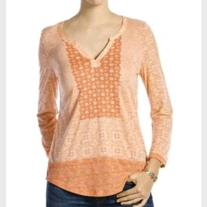 Lucky Brand orange placed scarf cotton modal top